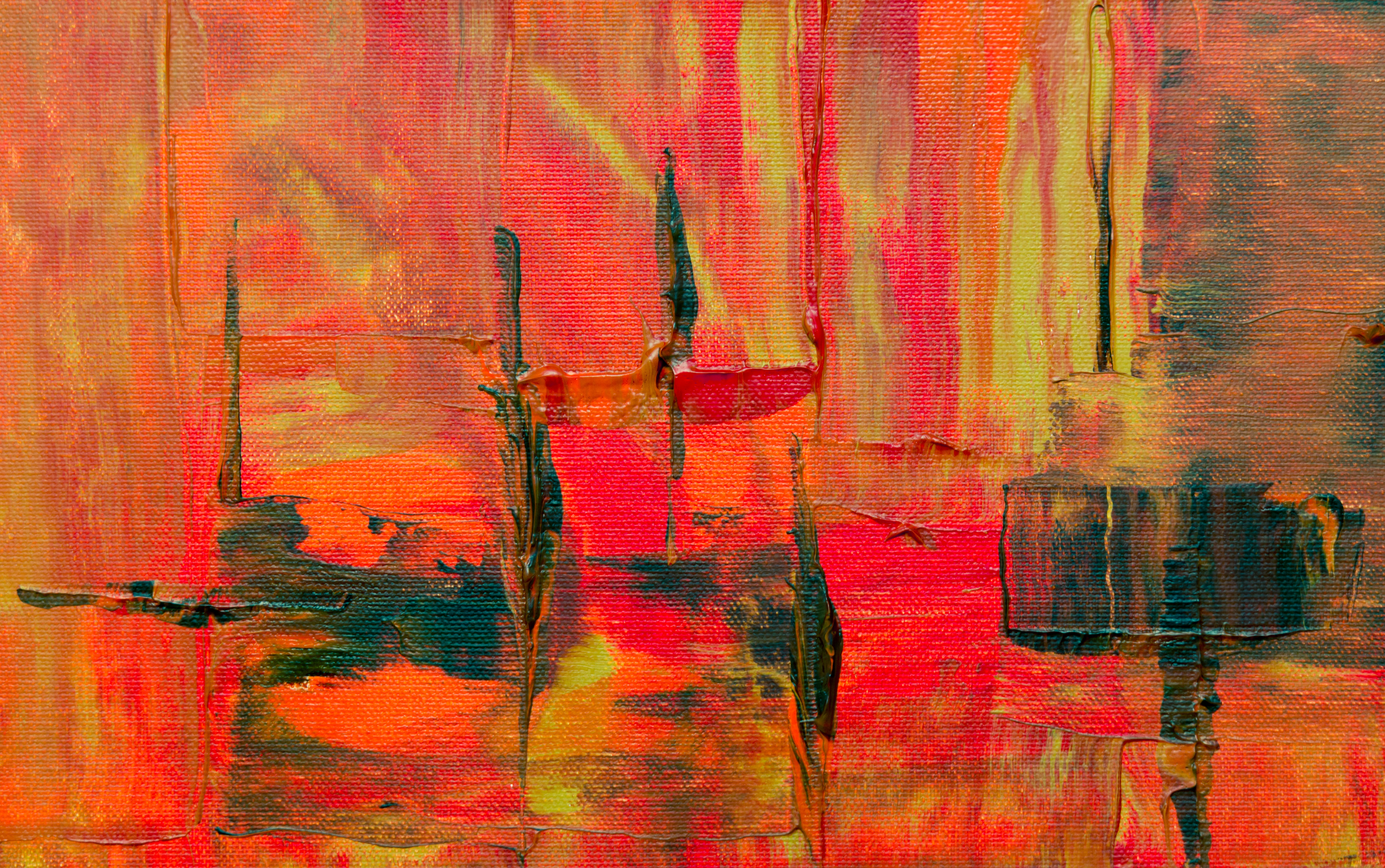 red and yellow abstract painting