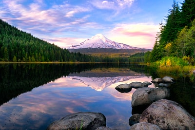 lake surrounded by pine trees near snow-covered mountain oregon zoom background