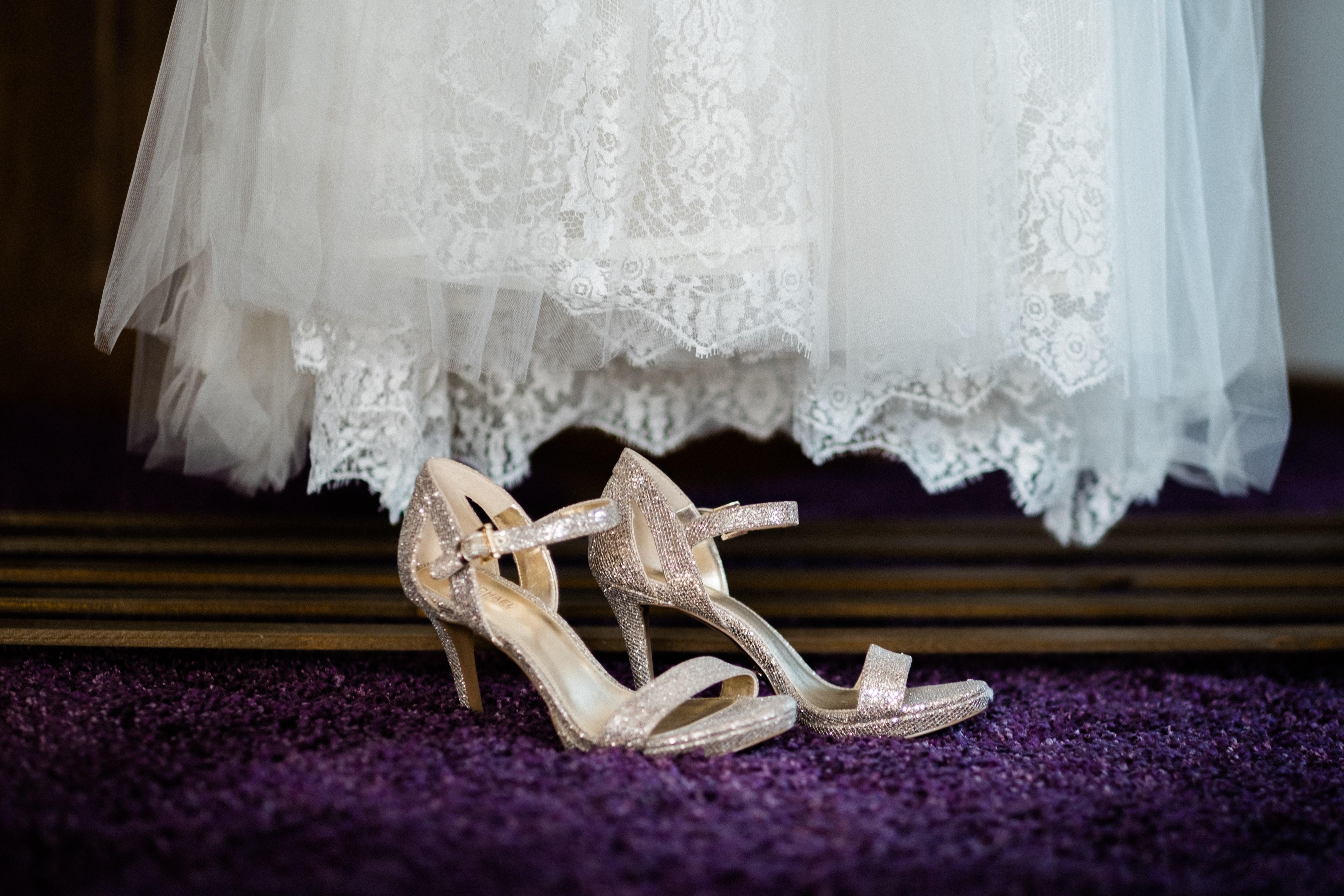 pair of white sandals