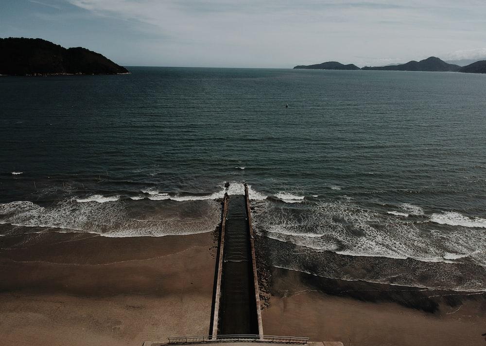 black plank walkway beside body of water