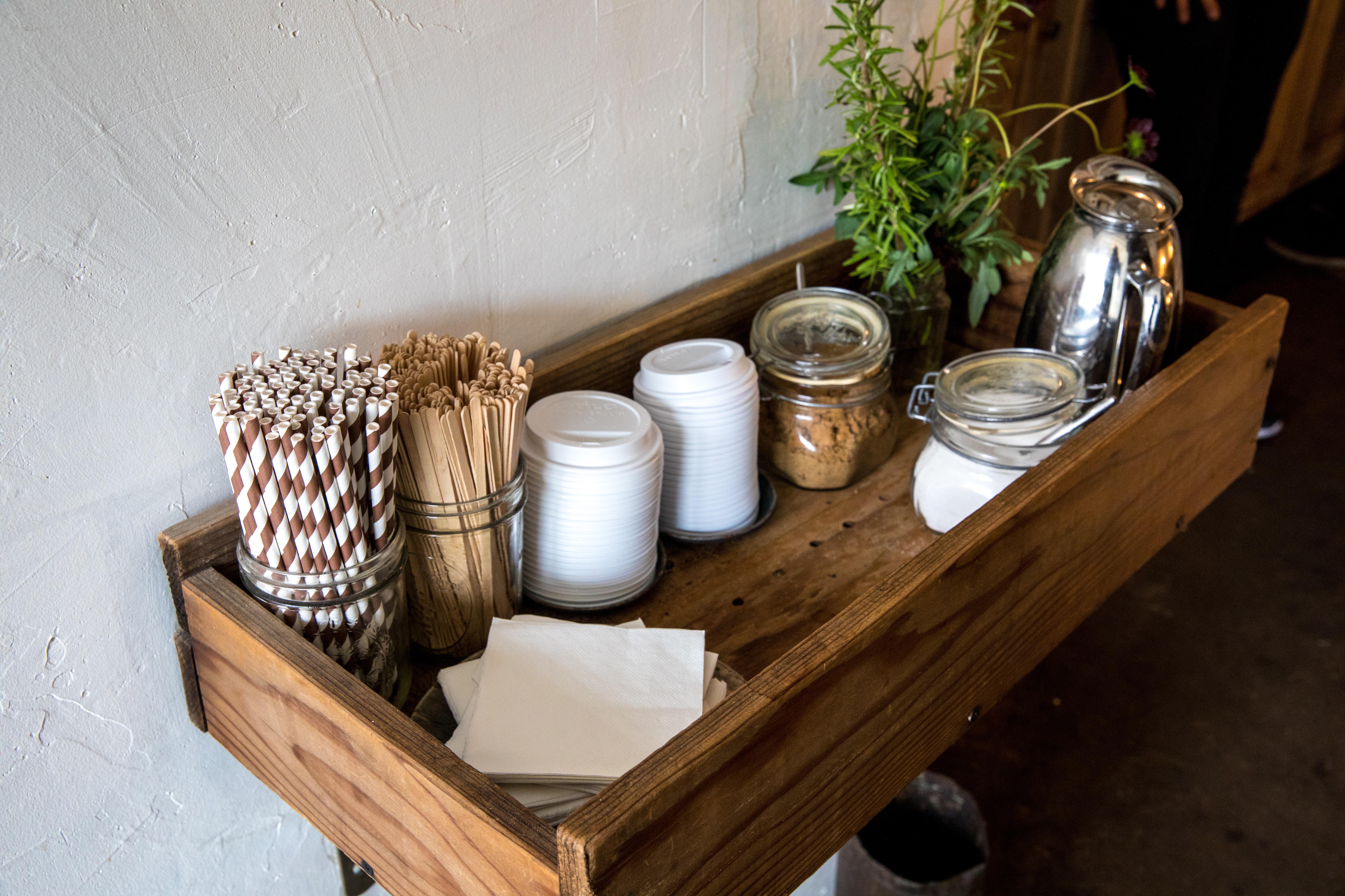 wafer sticks inside glass jar on top of rack