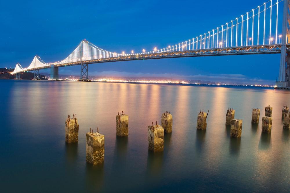 brown sea stacks under white bridge