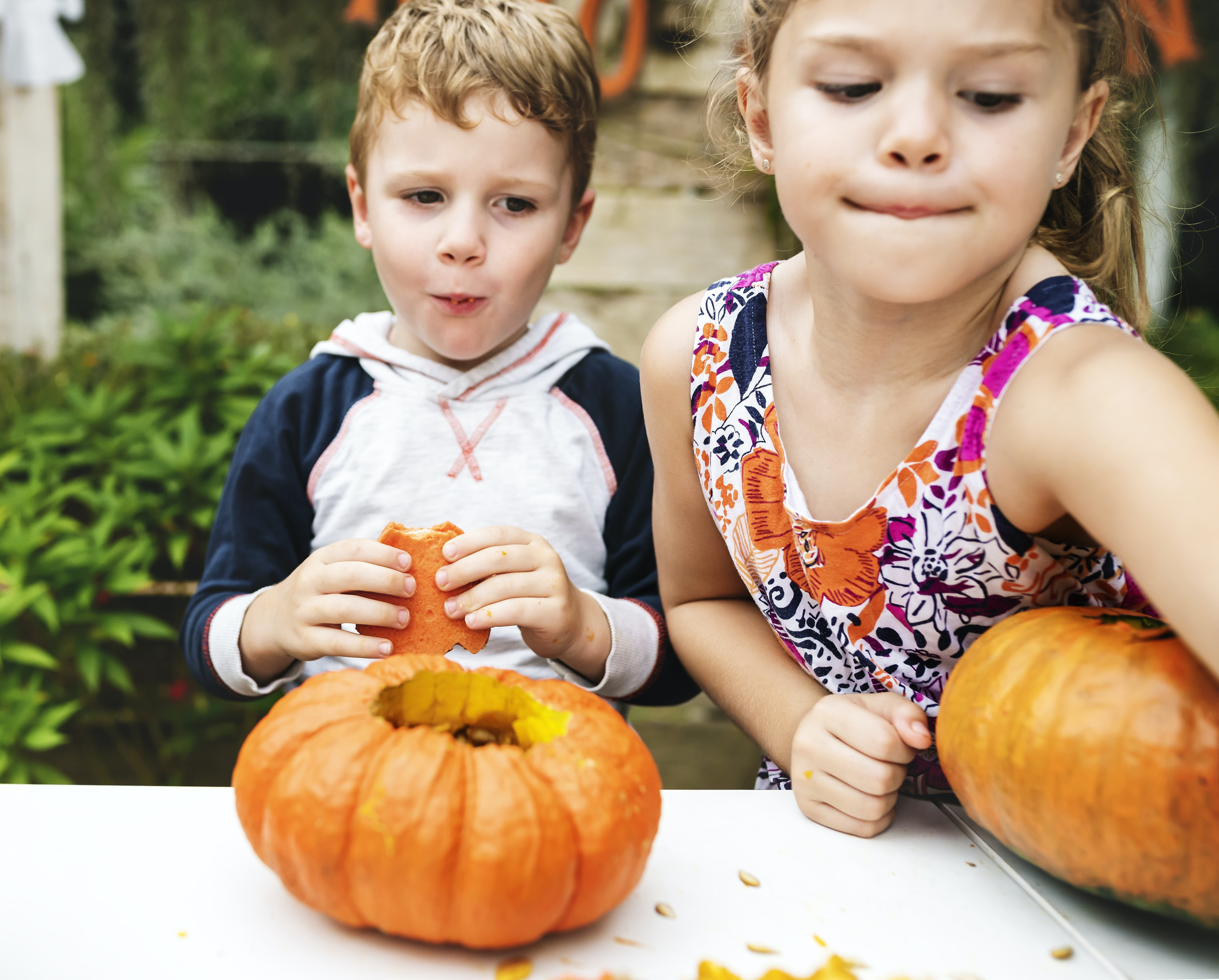 boy and girl playing pumpkin during daytime