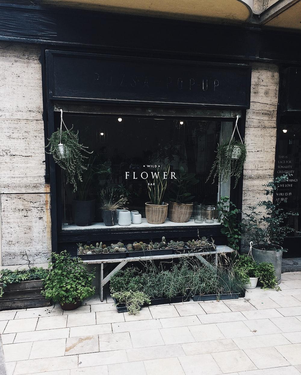black wooden flower shop front