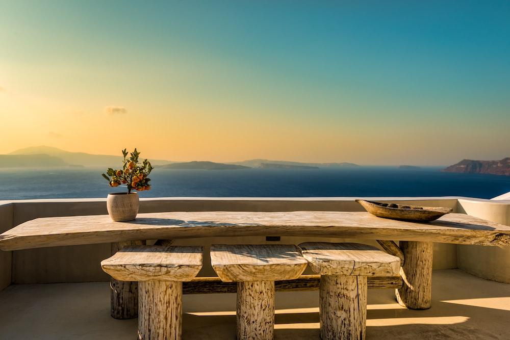 rectangular wood slab table set