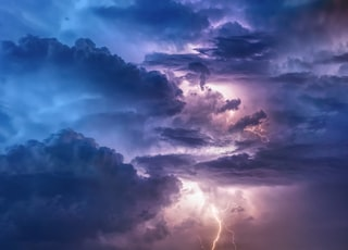 clouds with thunder digital wallpaper