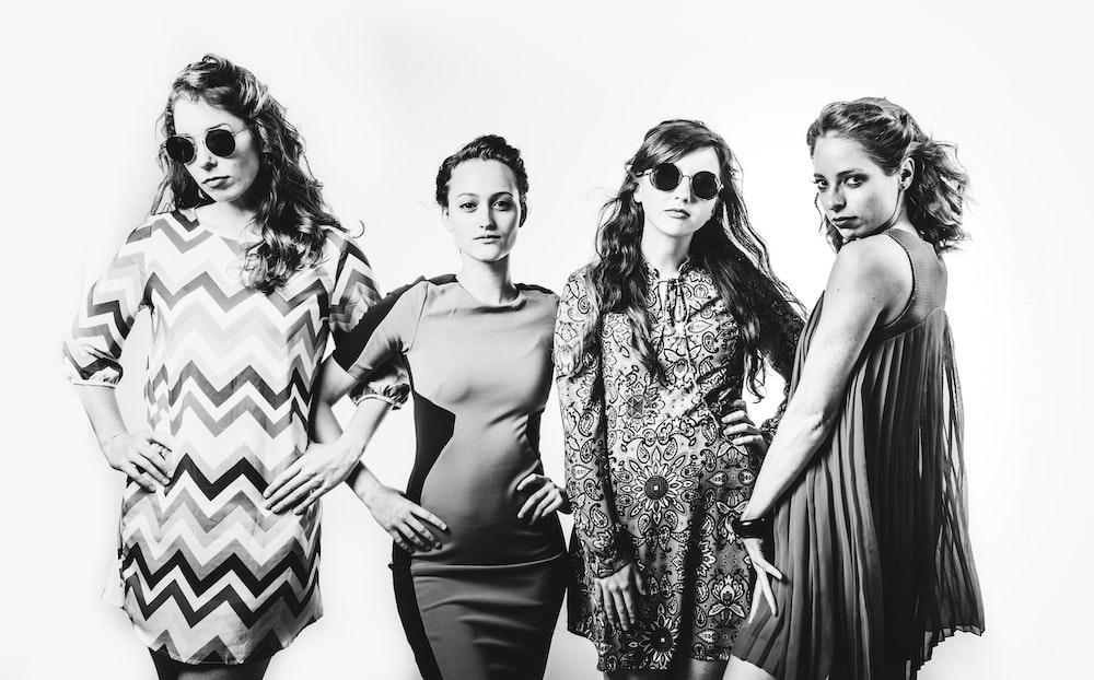 four women black and white photos