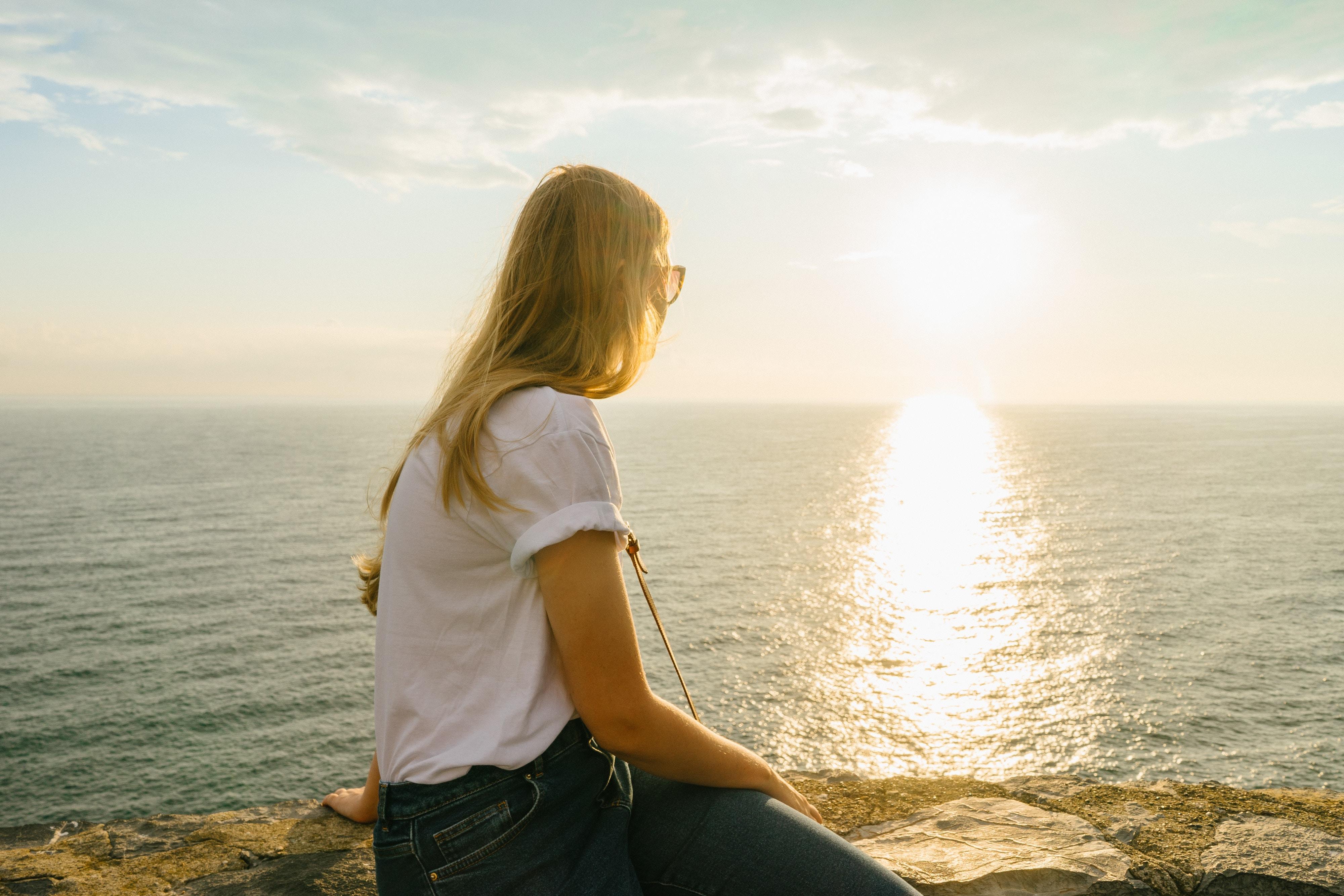 woman staring at horizon