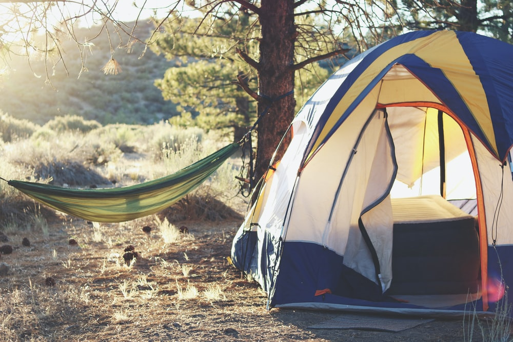 white, yellow, and blue dome tent near green hammock
