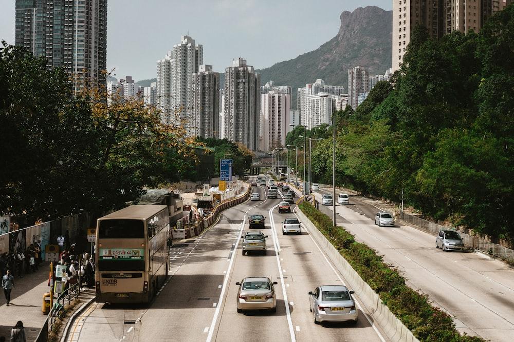 vehicles near high-rise buildings