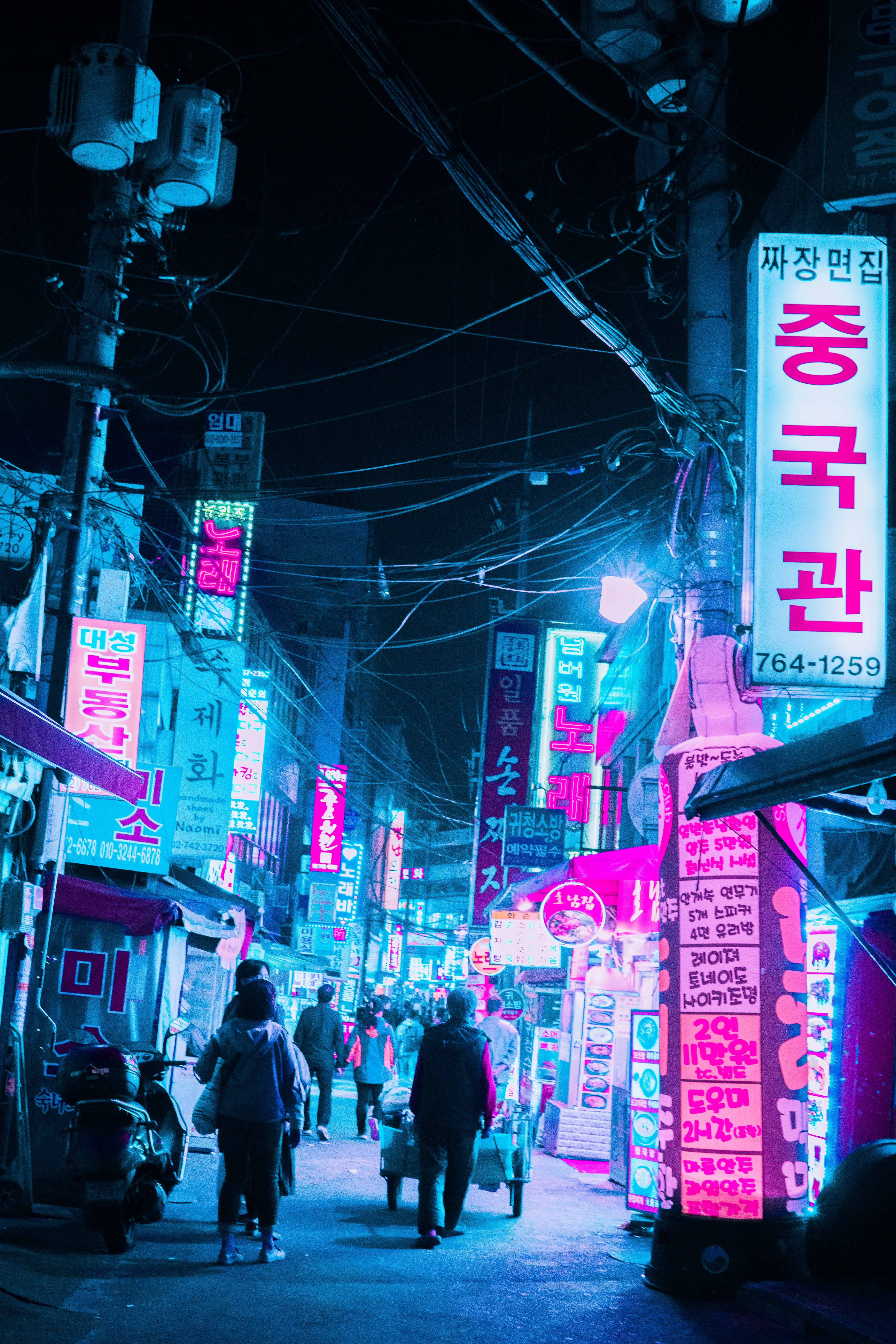 view of night market in a Japanese alley