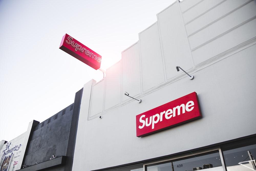 white Supreme concrete store