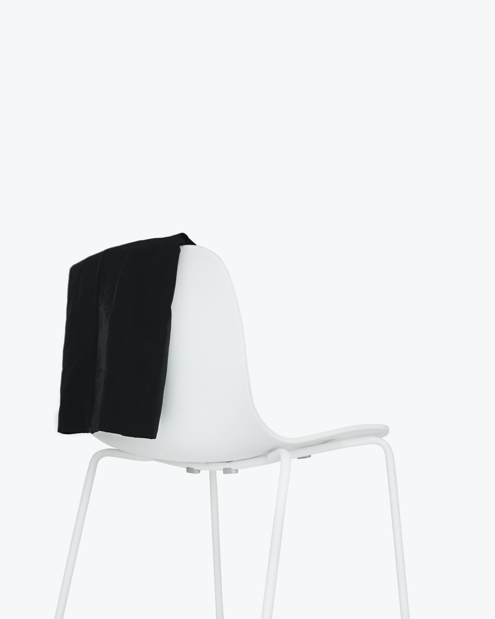 white metal armchair with white background