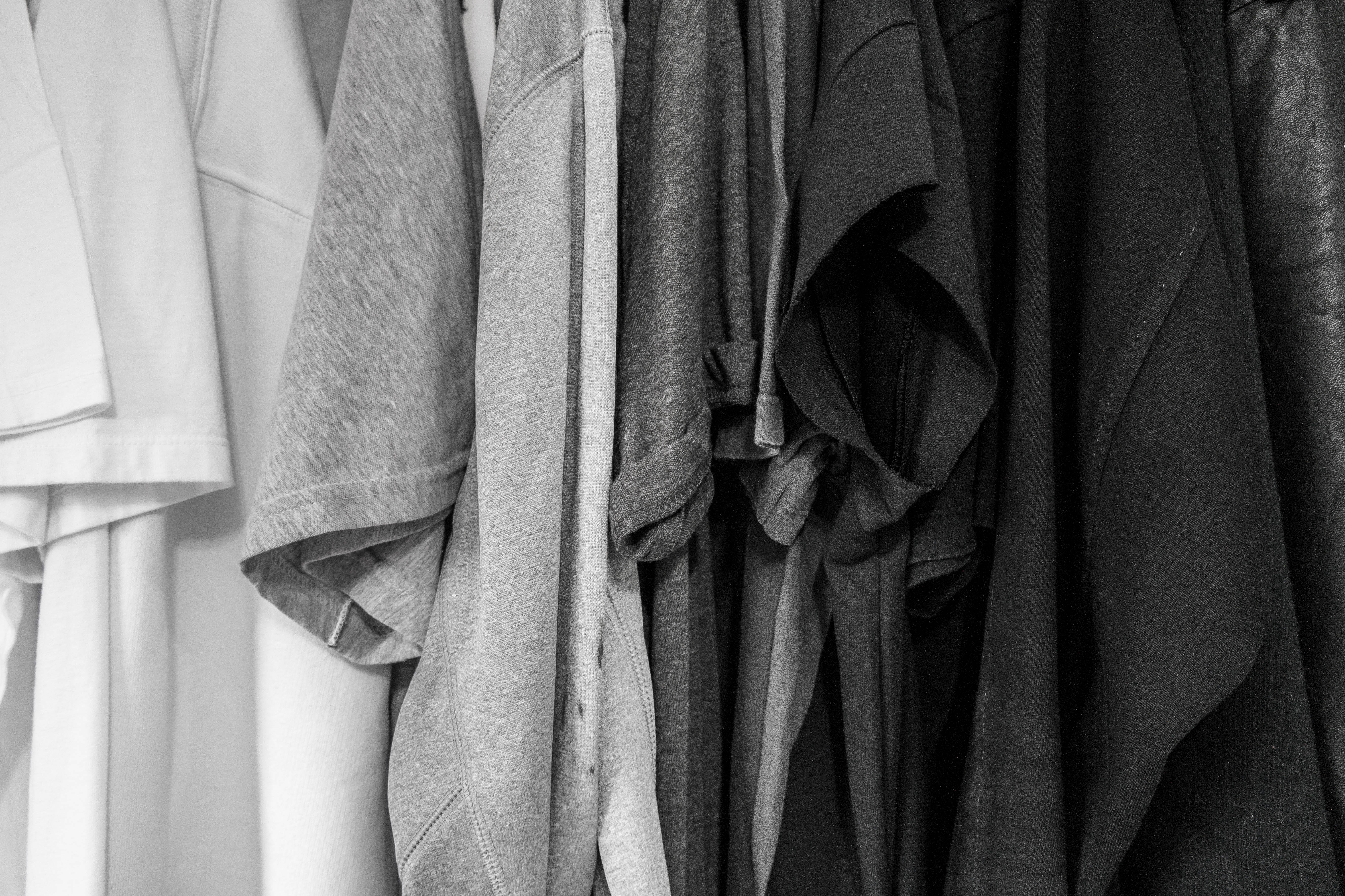 grayscale photography of assorted clothes, wake and bake tips