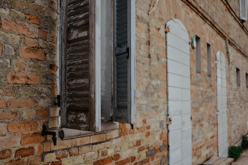 brown painted brick building