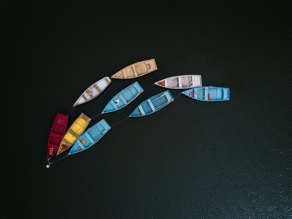 assorted-color canoe lot