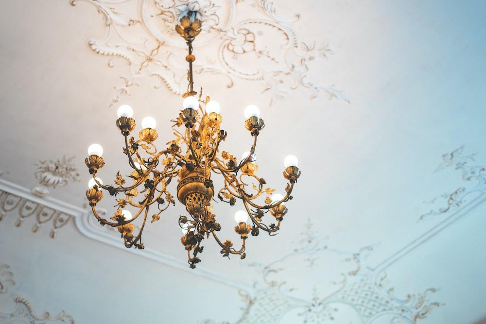 brown uplight chandelier
