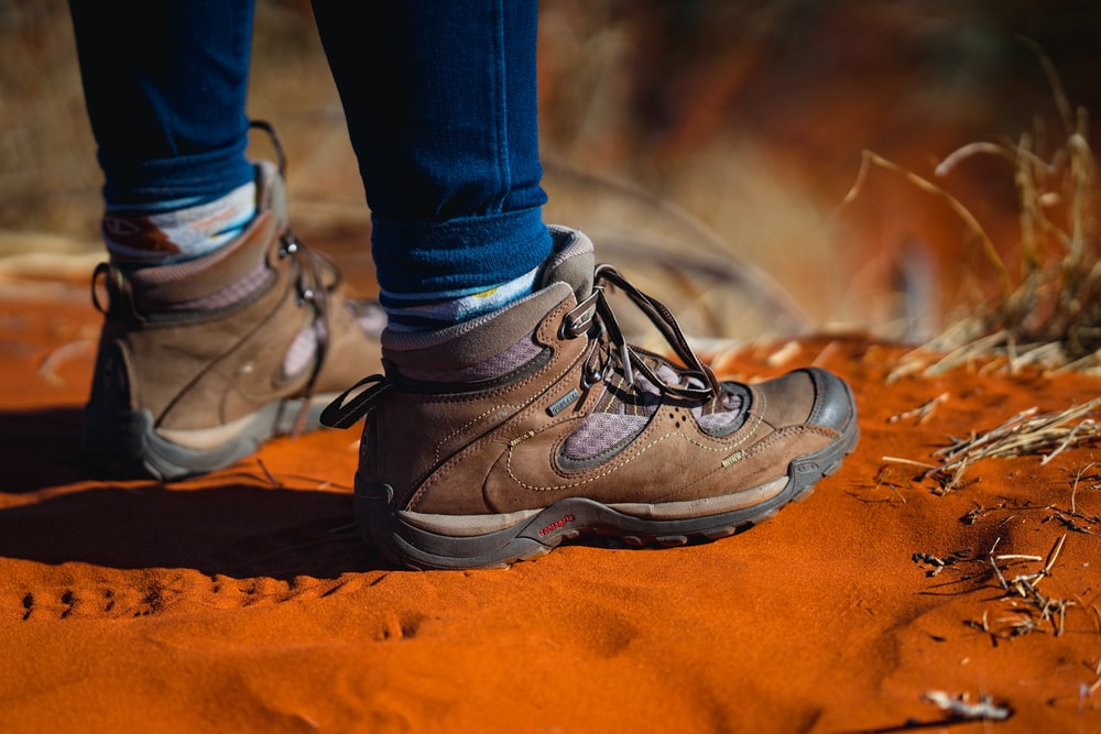 brown hiking boots