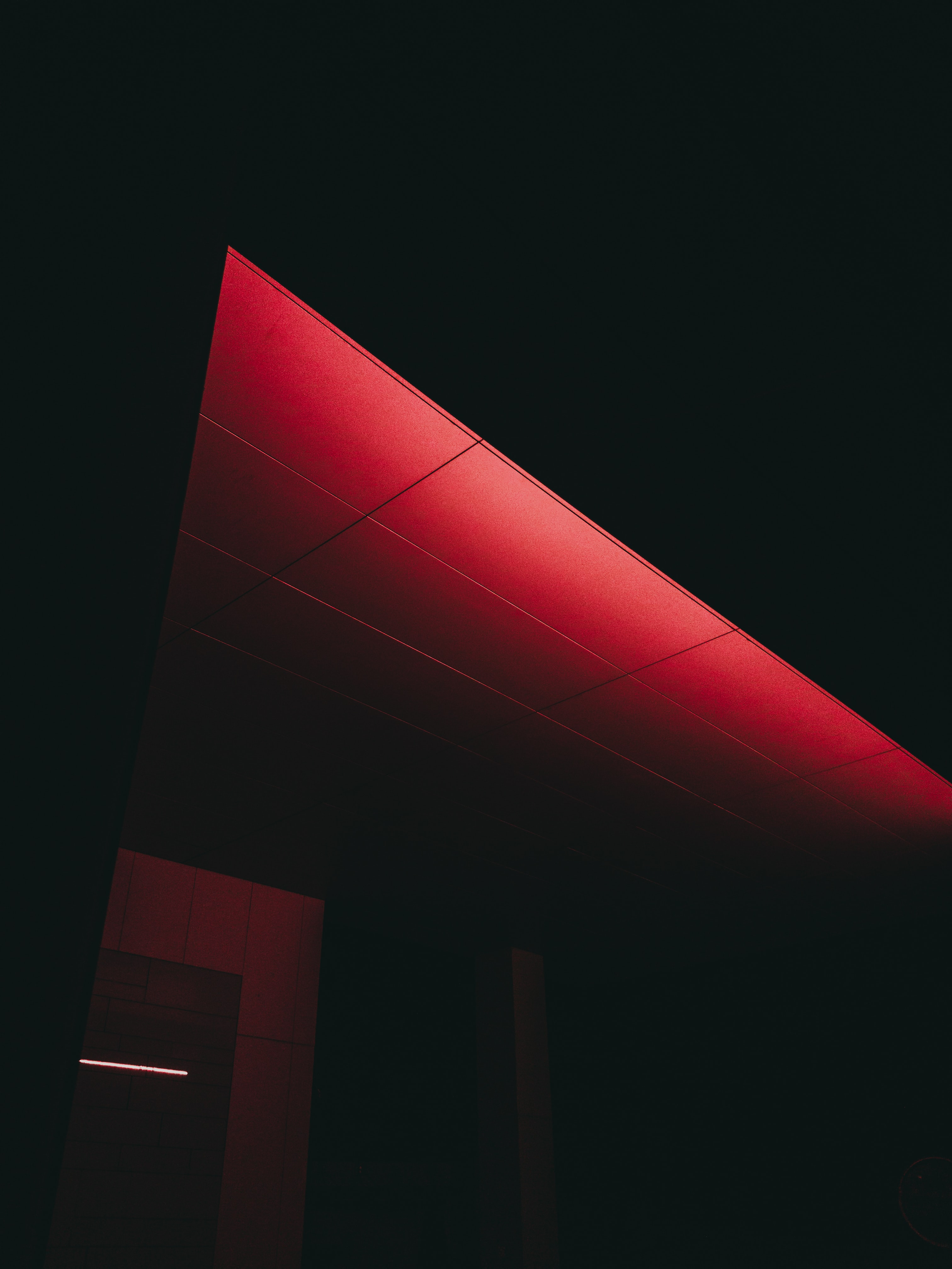 red lightened ceiling