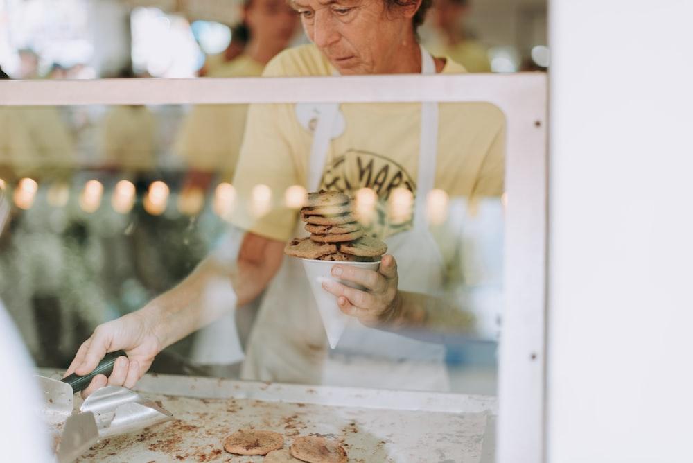 man cooking cookies
