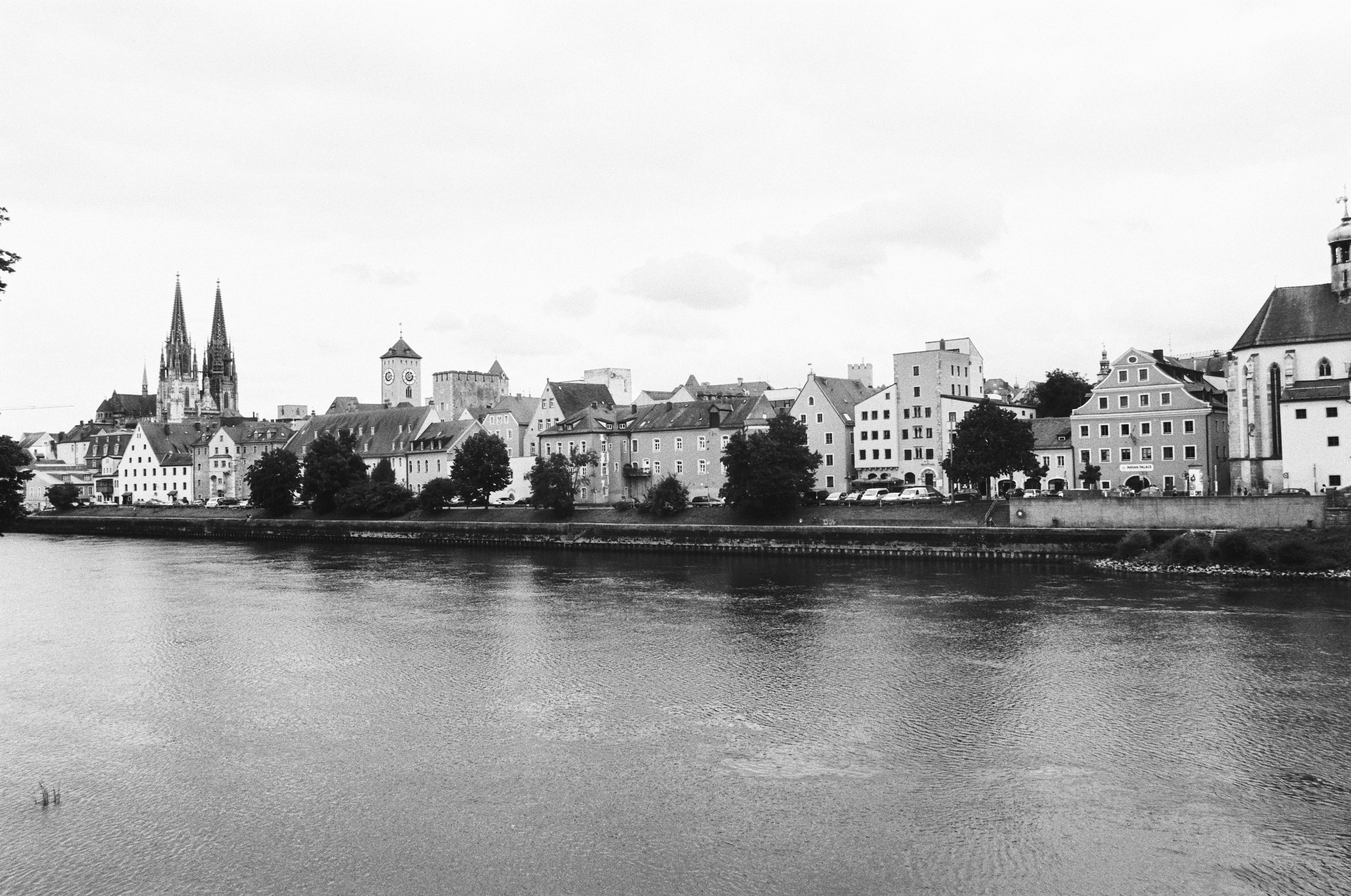 grayscale photography of city near a river