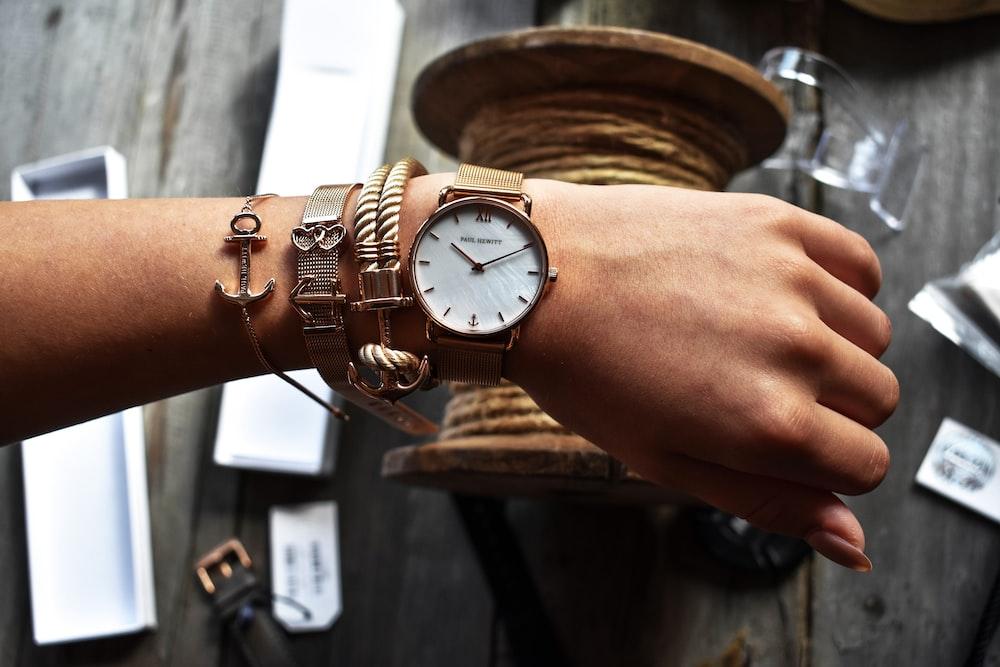 analog watch displaying 10:10