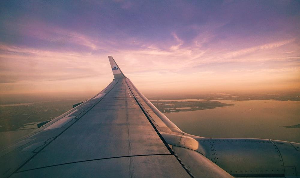 飛行機の翼の航空写真と島の眺め