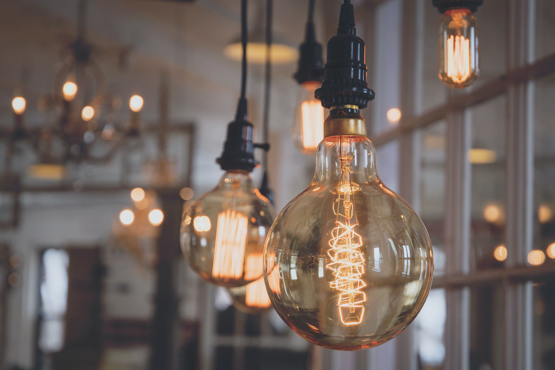 turned-on bulbs