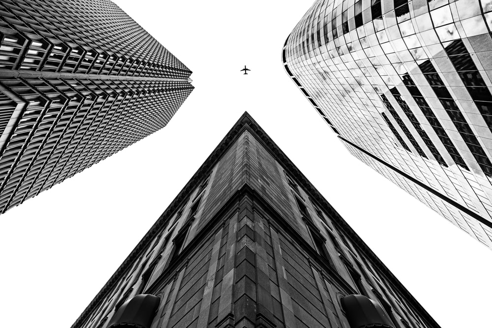 grayscale photography of buildings