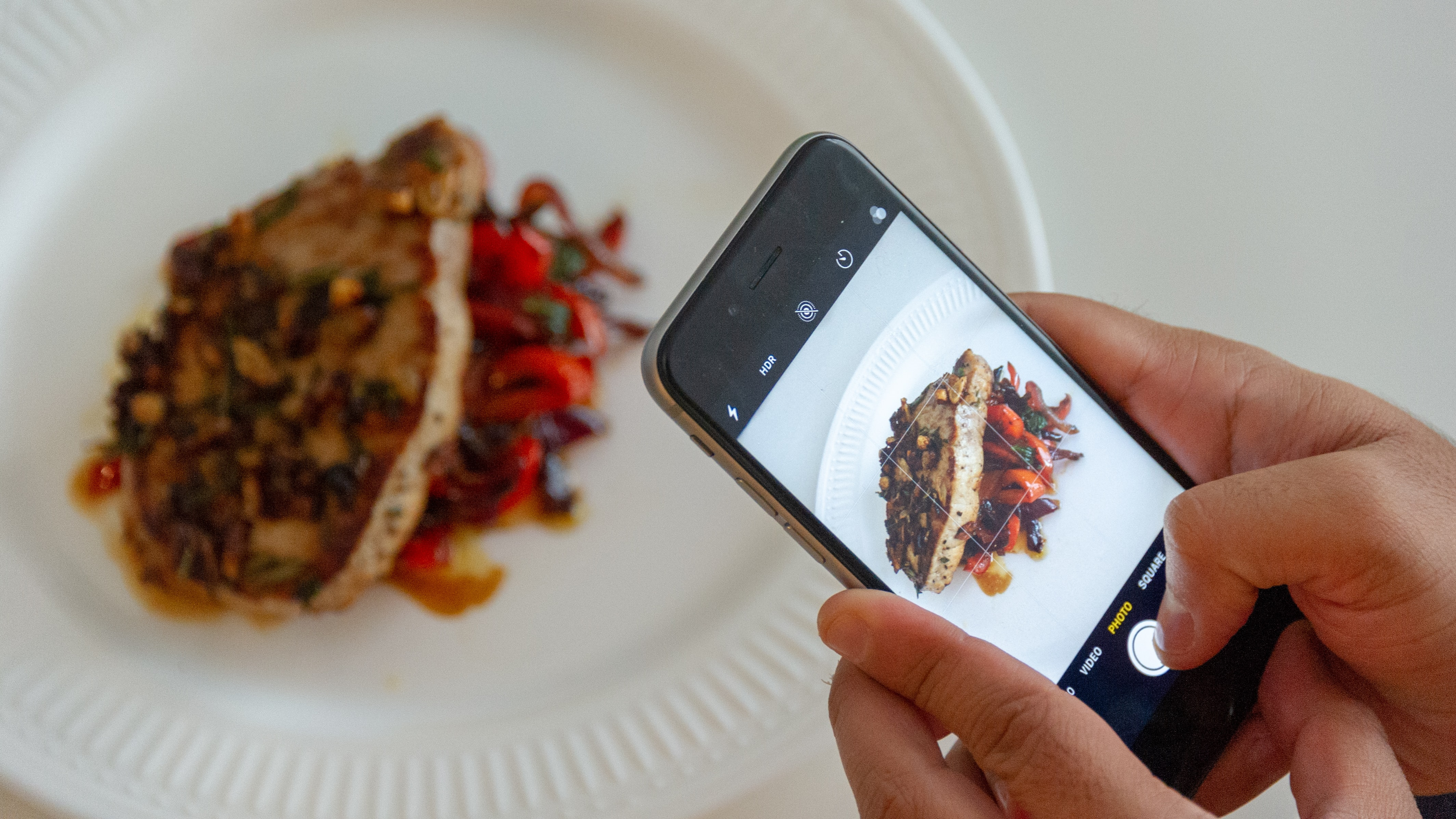 person taking picture of plated food