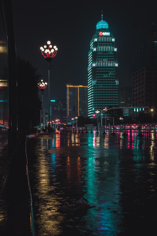 city street during rainy nighttime