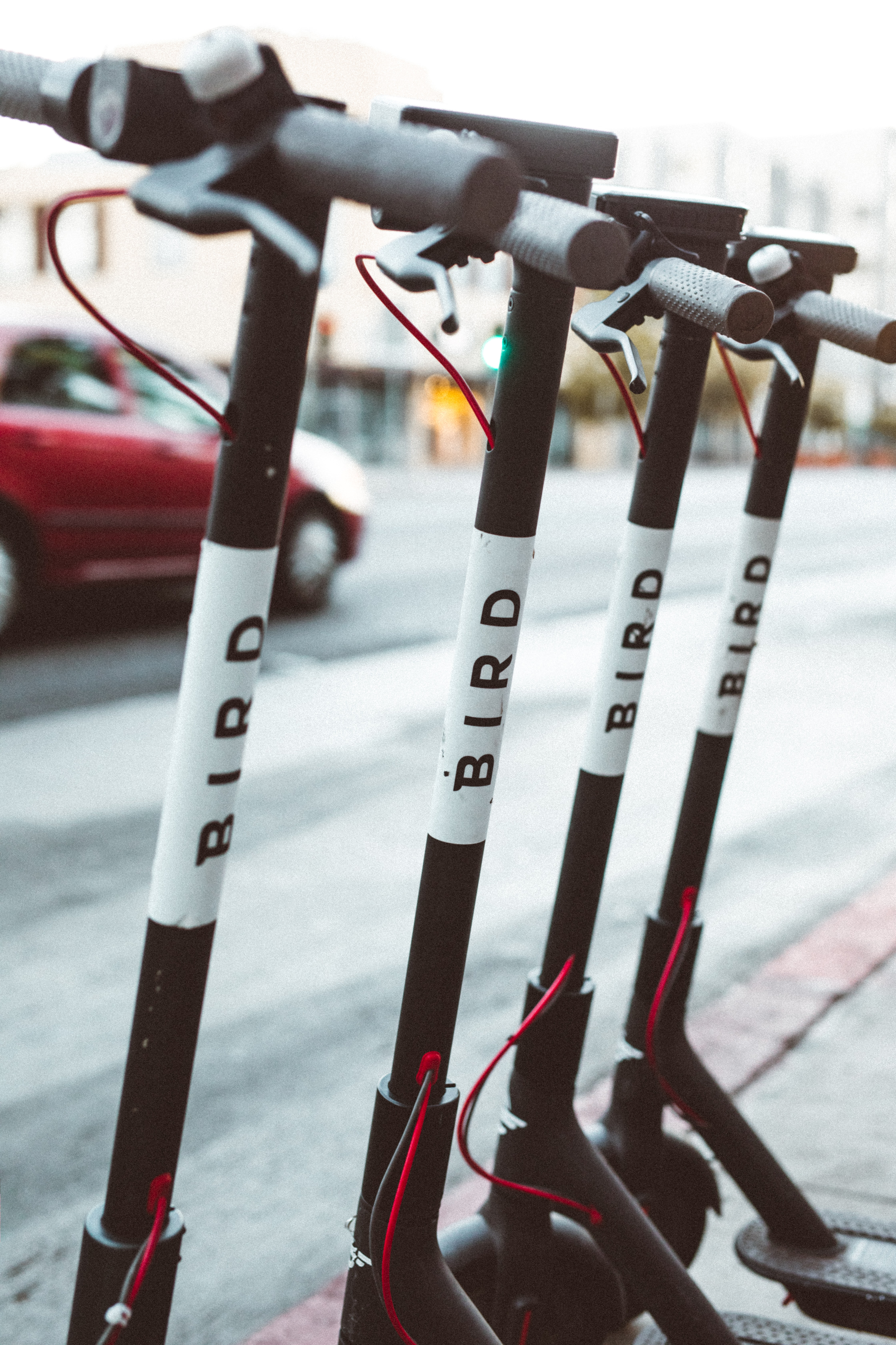 selective focus photo of four Bird electric scooters