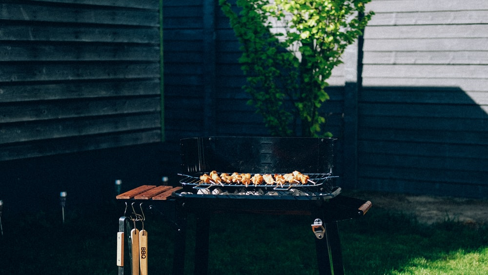 black charcoal grill
