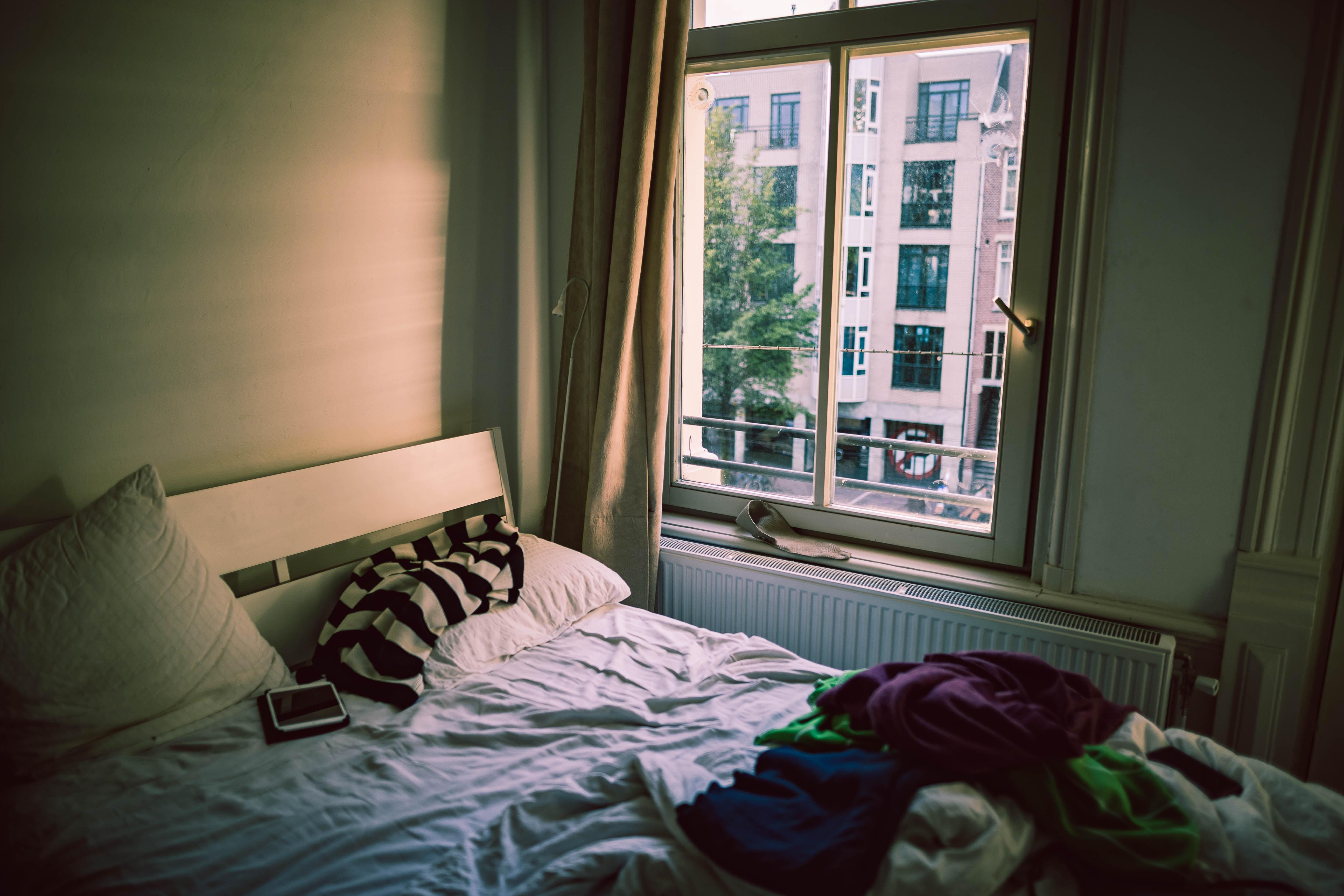 white bedspread