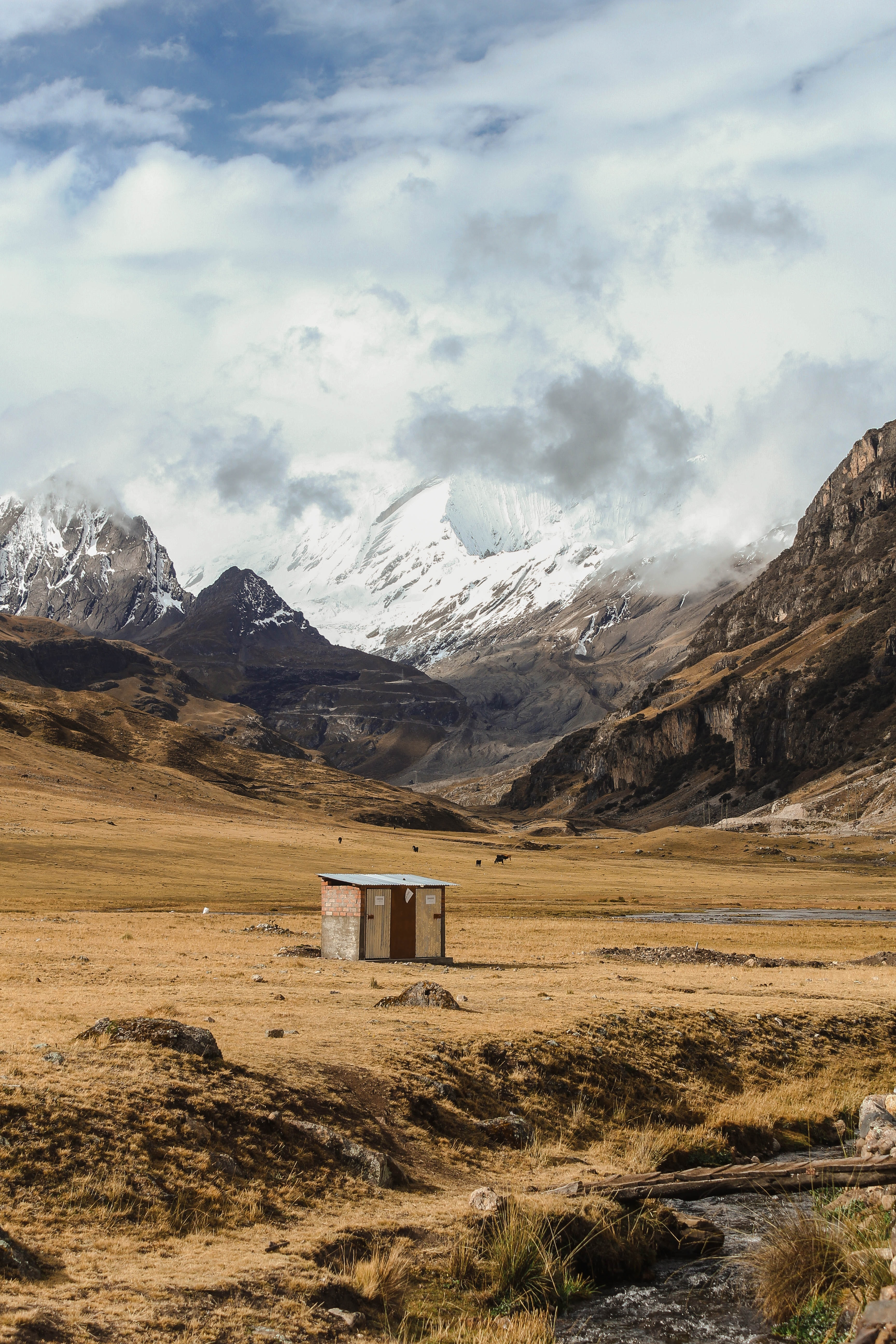 brown wooden storage room beside mountains
