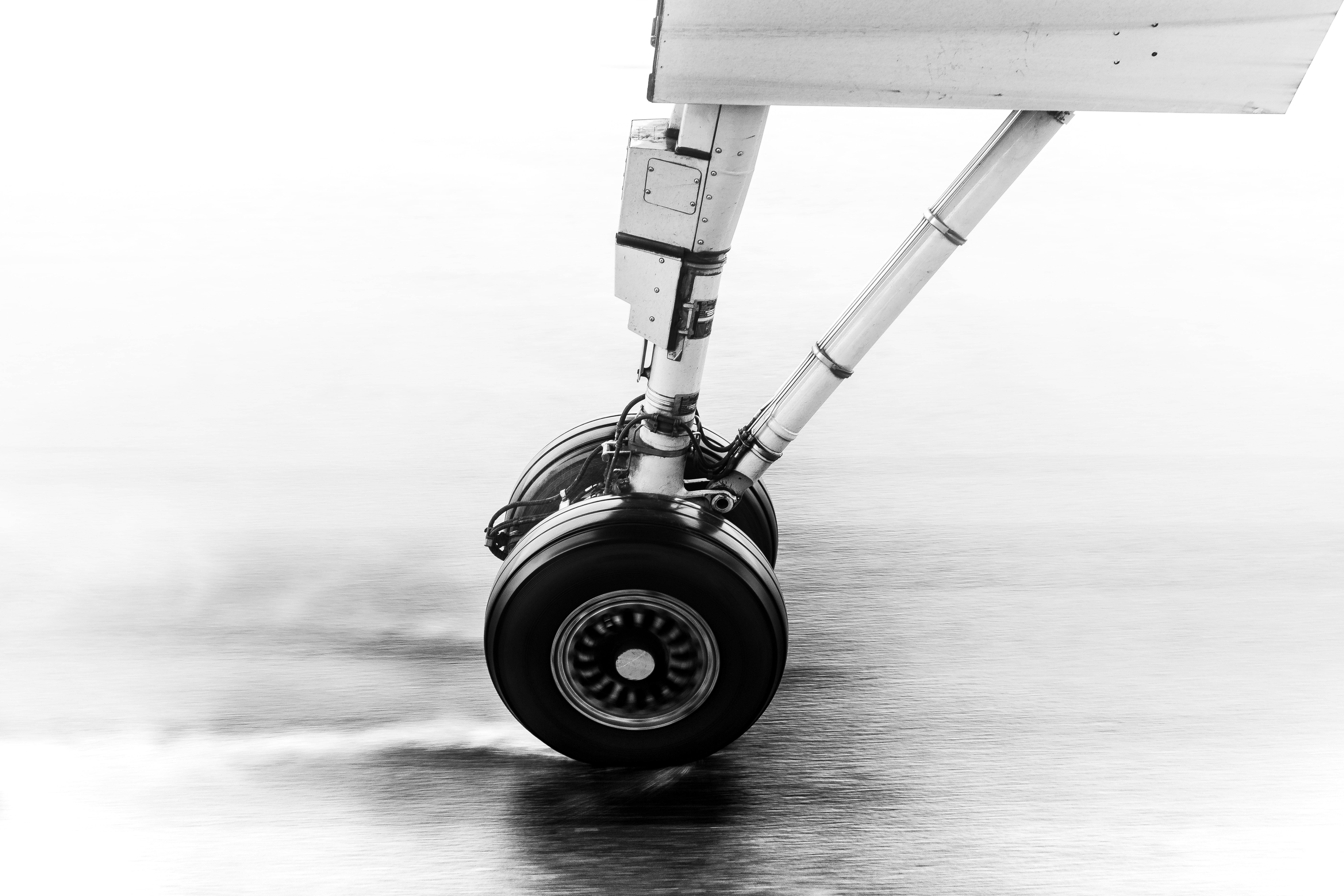 black airplane wheel