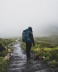 green hiking bag