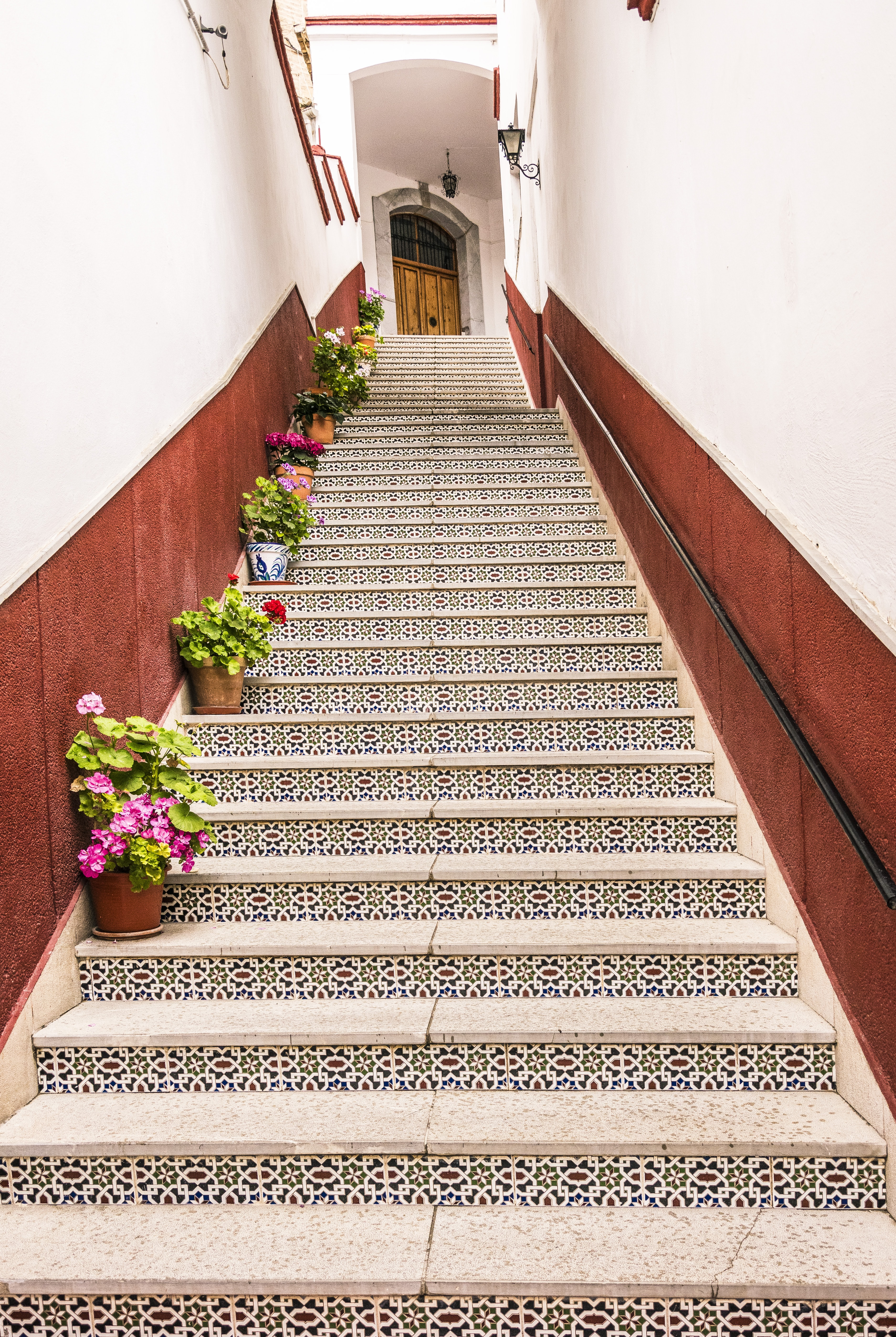 photo of brown and white stairs