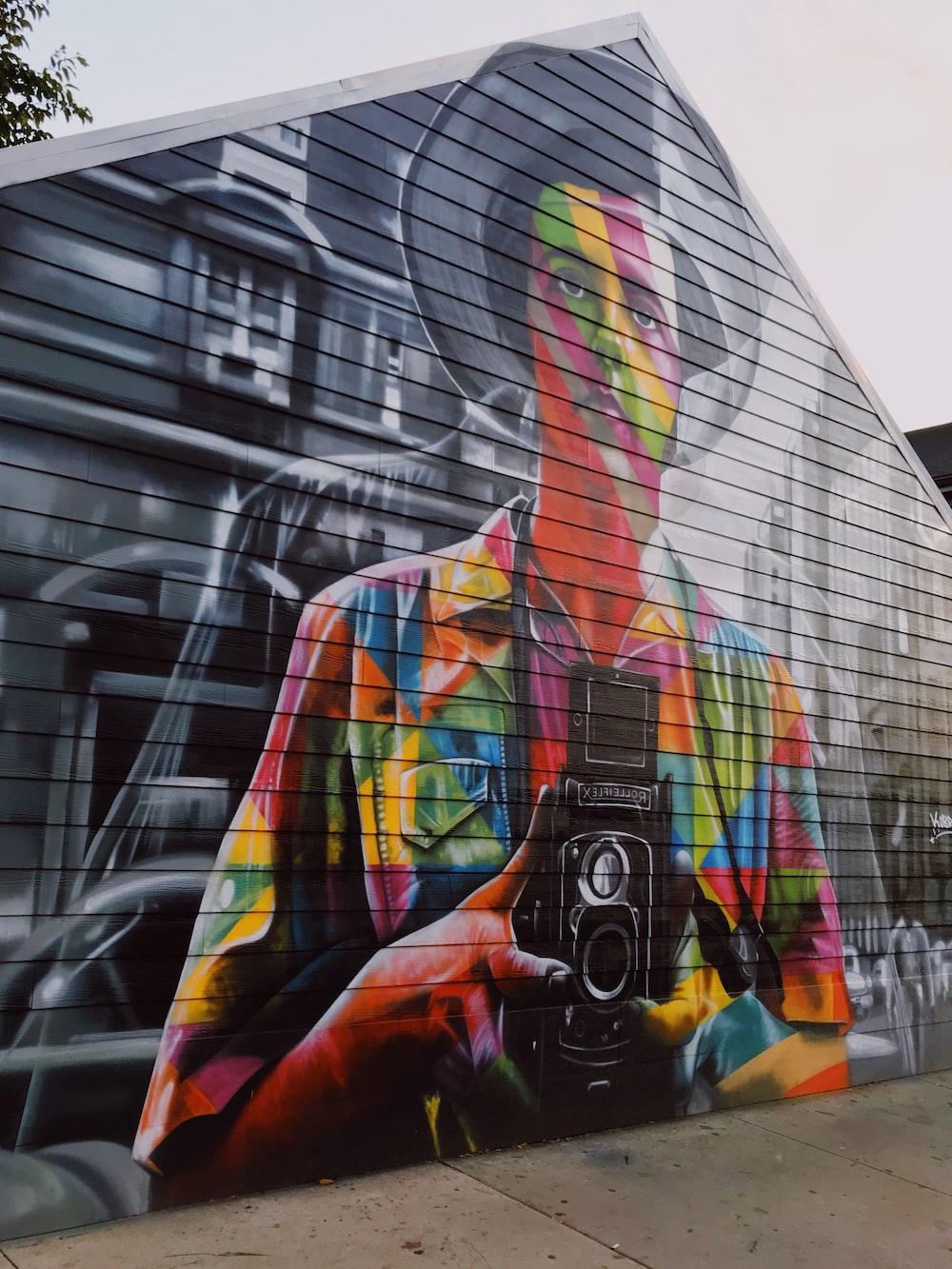 profile of man mural art