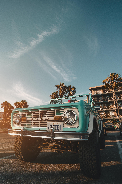 teal pickup truck