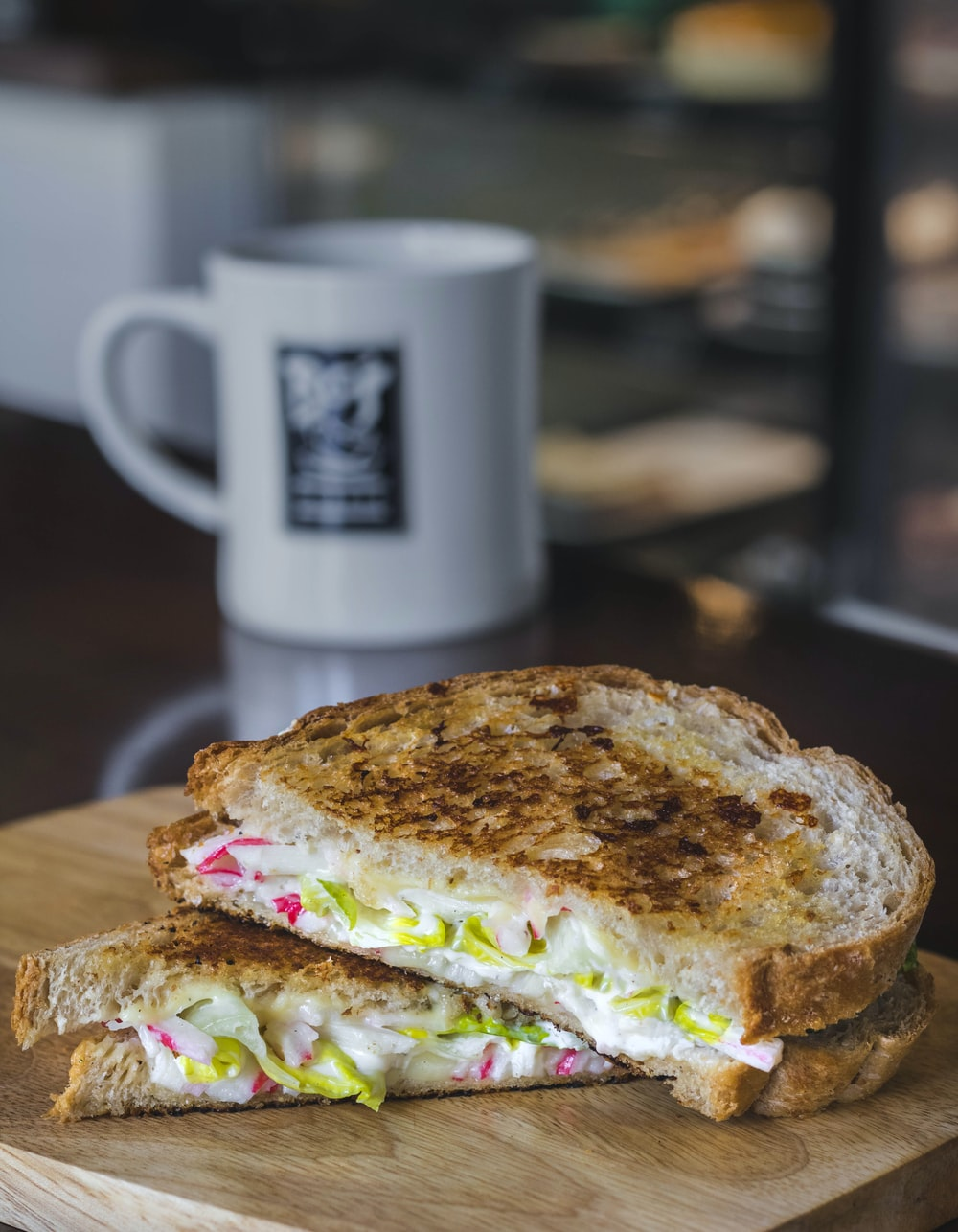 sandwich on brown board