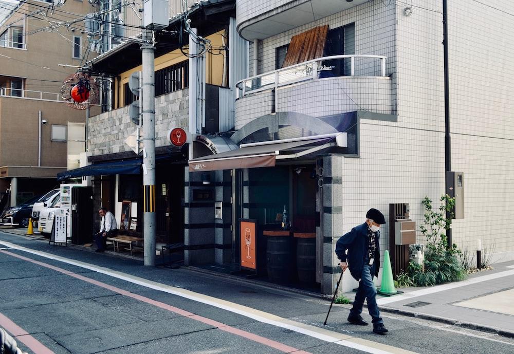 man talking on street
