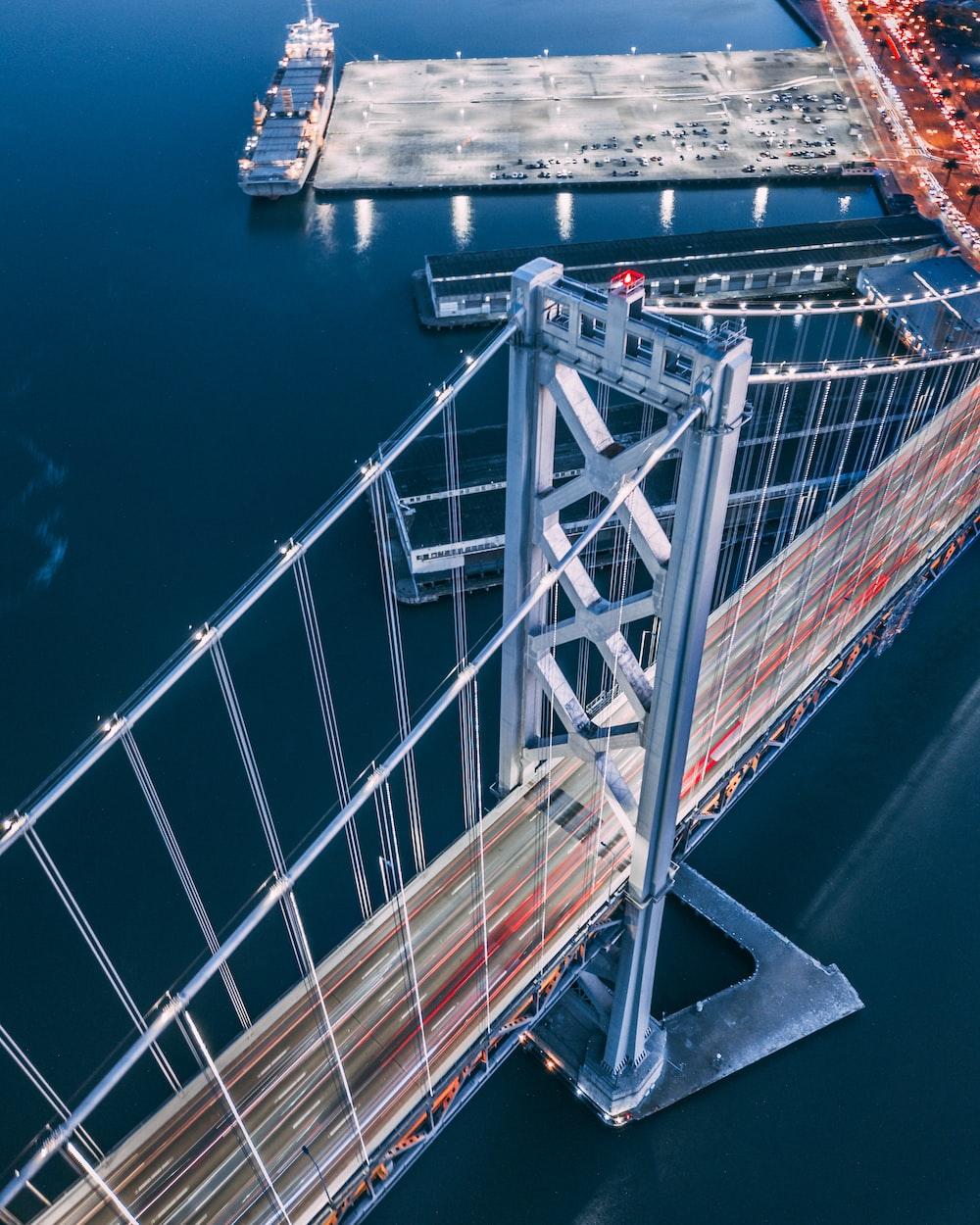 top view of bridge over body of water