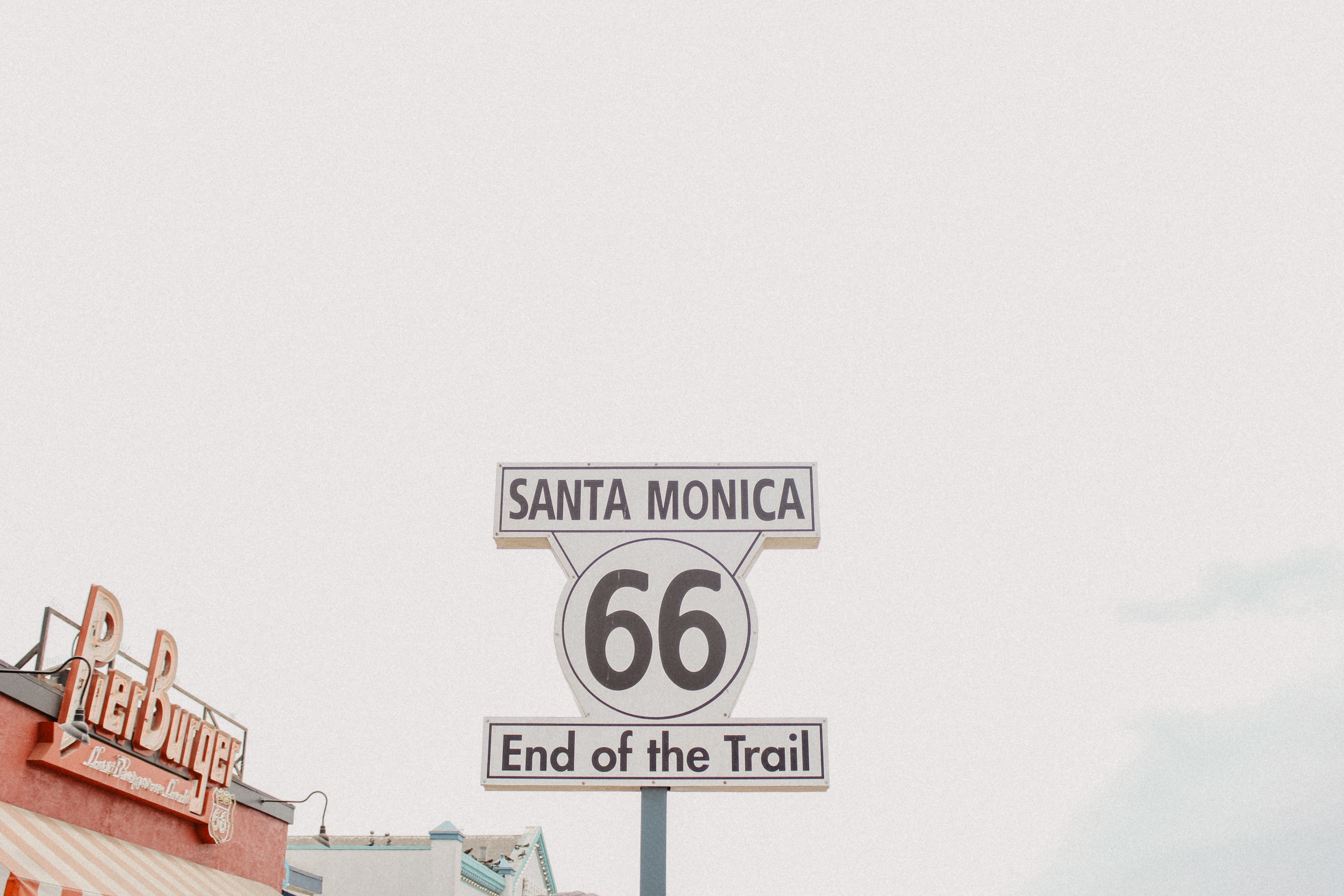 Santa Monica End of the Trail signboard