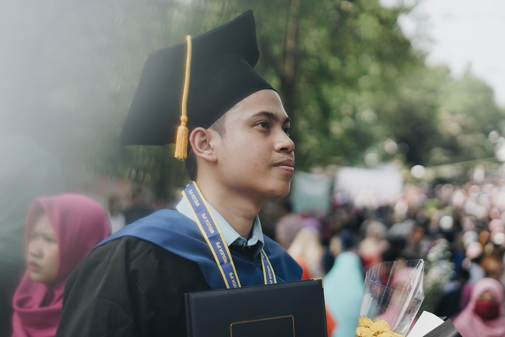 man wearing mortar board