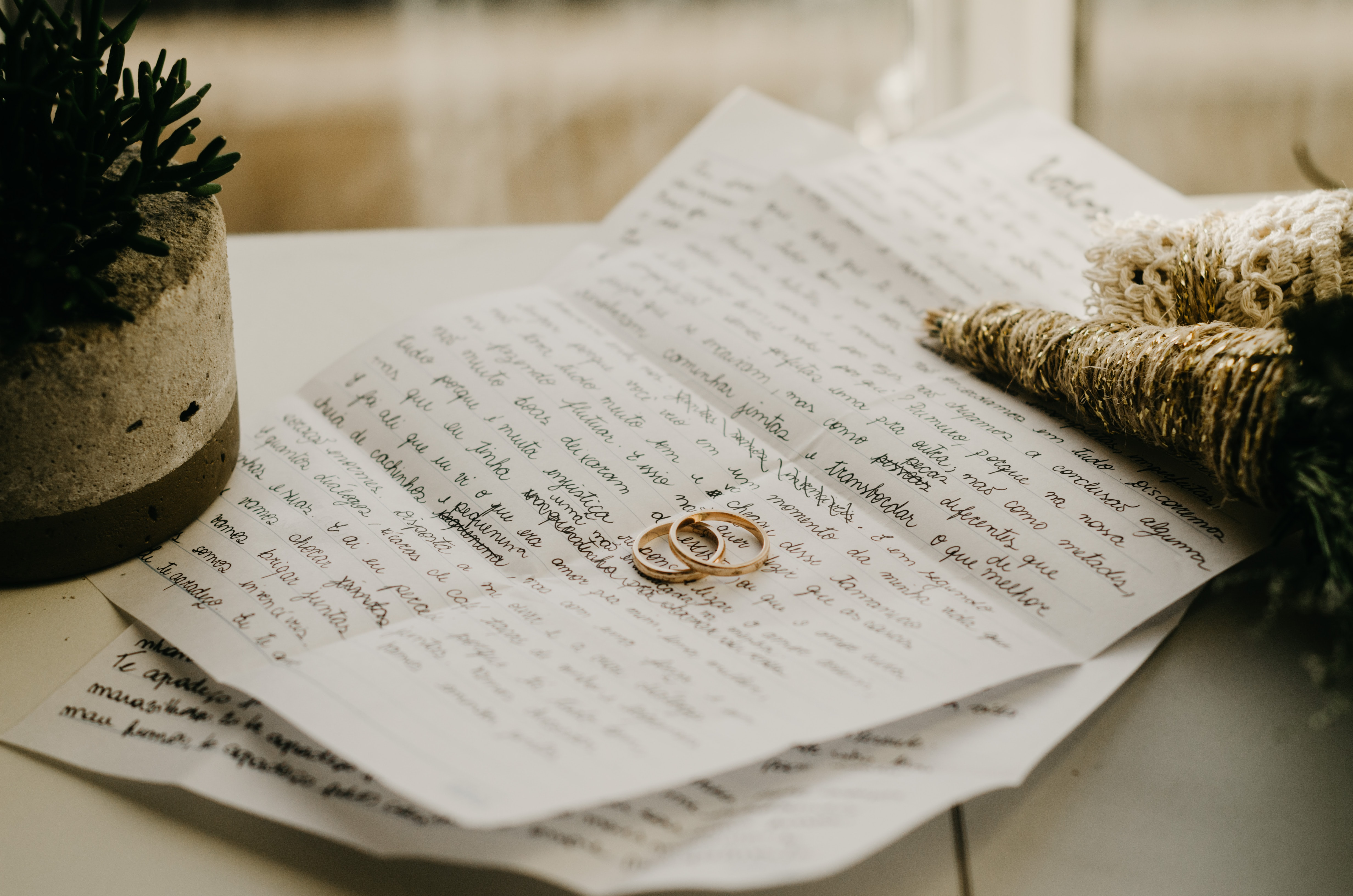 wedding ring on top of white paper