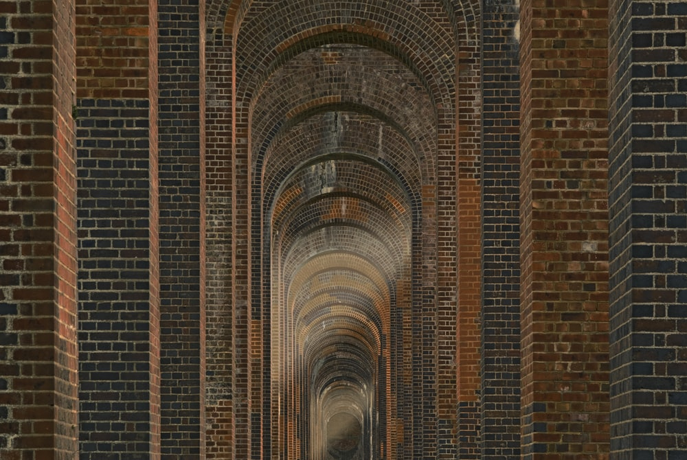 brown and black concrete hallway