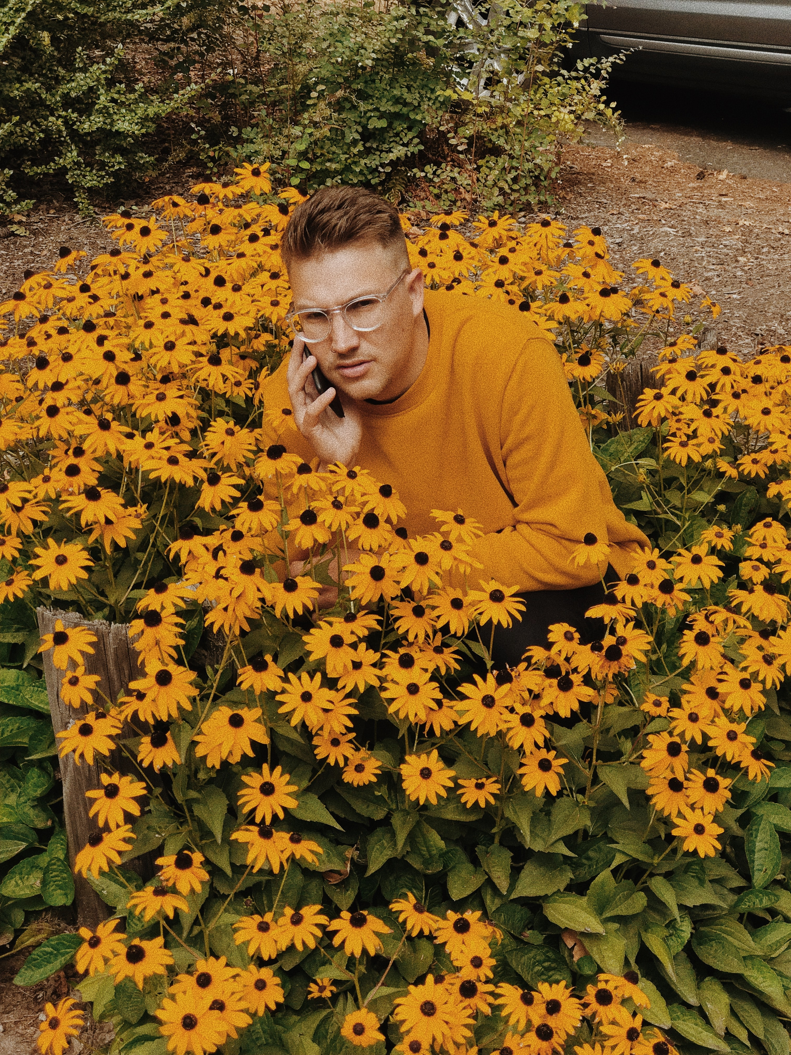 man wearing brown sweater docking in sunflowers