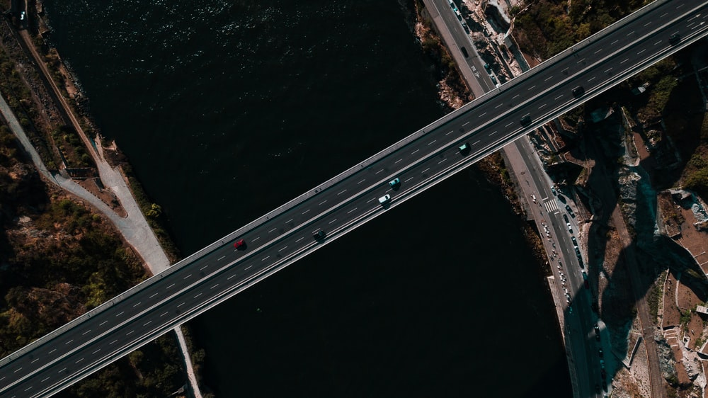 bird's eye view photo of bridge