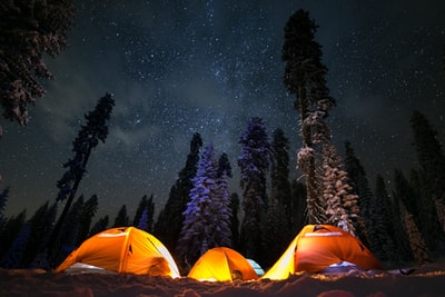 three tents under stars camping zoom background